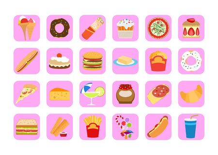 Sweets icons. Fatty food vector set for app design Stock Photo