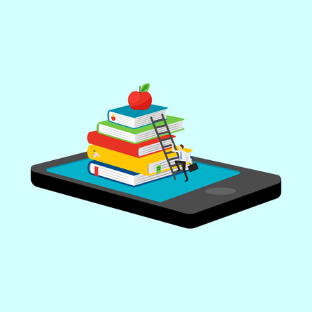 Mobile library in smartphone vector illustration. Isometric 3d online booking Illustration