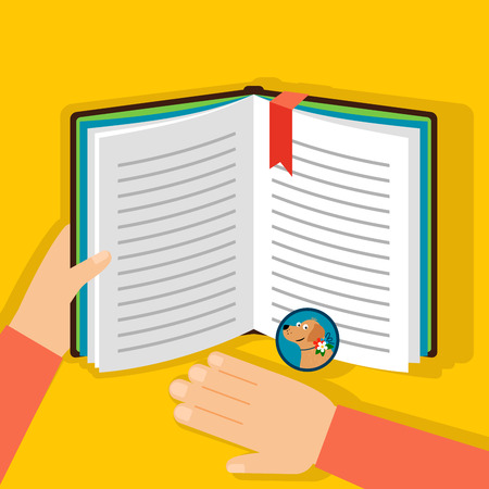 lurk: Reading book about dogs, top view on the yellow background. Vector illustration