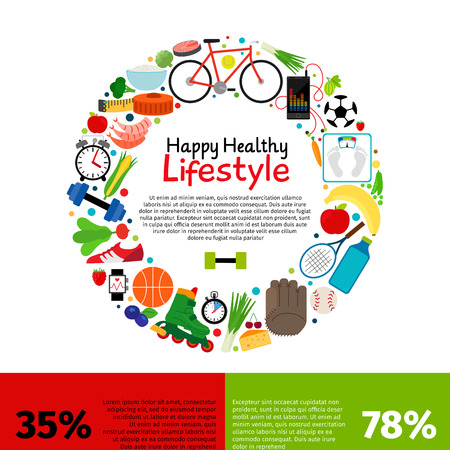 Healthy lifestyle food infographics vector illustration with round frame