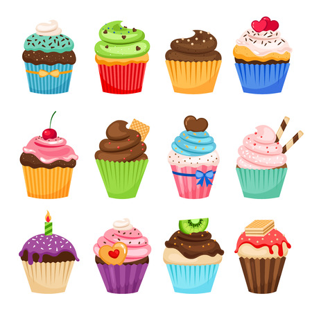 Delicious cupcakes and vector sprinkles muffin set isolated on white background Illustration