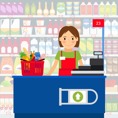 Cashier woman at the cash register machine and a shopping cart of groceries. Vector illustration Illustration