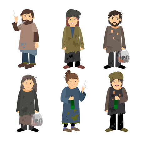 Homeless people men and women vector icons isolated on white background
