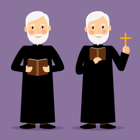 Pastor character with cross and Bible isolated on violet background. Vector illustration