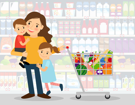 Woman in supermarket with two young kids and shopping cart full of groceries. vector illustration Stock Illustratie