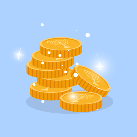 gelt: Golden chink in stack with menorah candles vector element