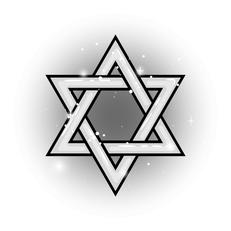 Grey Shield of David isolated vector star object on white backdrop