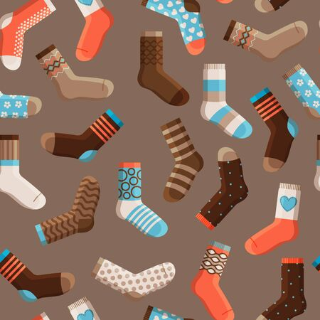 encircling: Colorful cartoon cute stylized kids socks, seamless pattern with dark background. Vector illustration