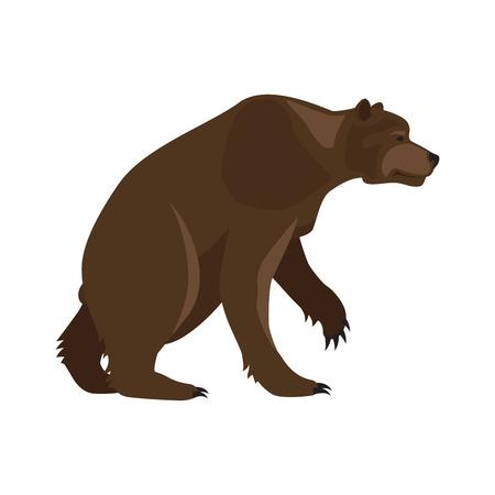 saber tooth: Prehistoric animal. Vector cartoon ancient mammal ice age extinct animal, bear