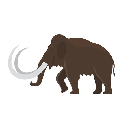 Prehistoric animal. Vector cartoon ancient mammal ice age extinct animal, mammoth Illustration