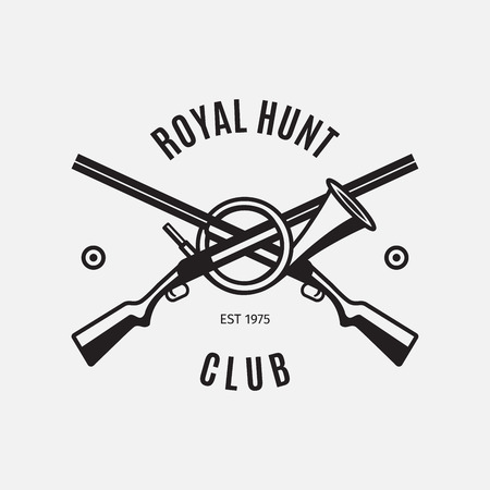 wildlife shooting: Vintage style vector hunt club logo with hunting rifles on white backdrop