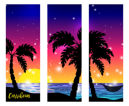 Caribbean sea view triptych with palm tree silhouettes and ocean sunset vector digital artwork