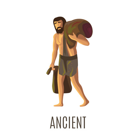 hombre prehistorico: Ancient prehistoric man with heavy bags or sack, isolated vector