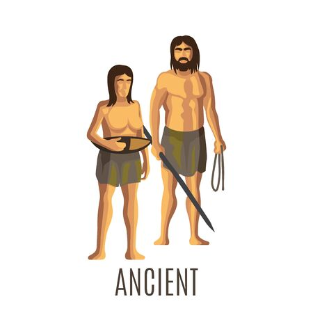 neanderthal women: Ancient prehistoric woman and man, isolated vector illustration Stock Photo