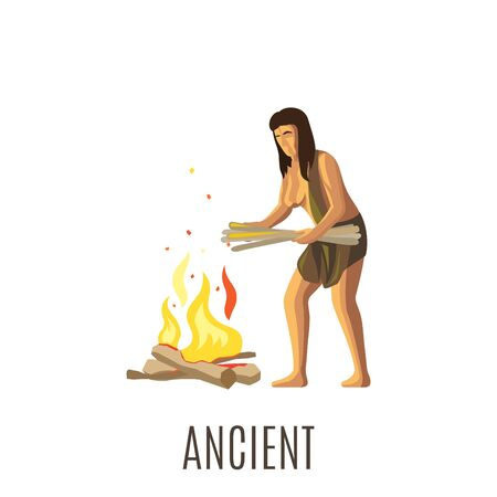 neanderthal women: Ancient woman making fire, isolated vector illustration with sign