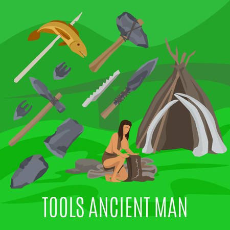 fire and ice: Ancient prehistoric stone age concept. Primitive tools vector illustration