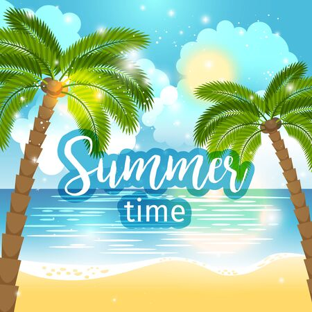 Summer time sea view background. Ocean and palm trees seaside blue design. Vector illustration Stock Photo