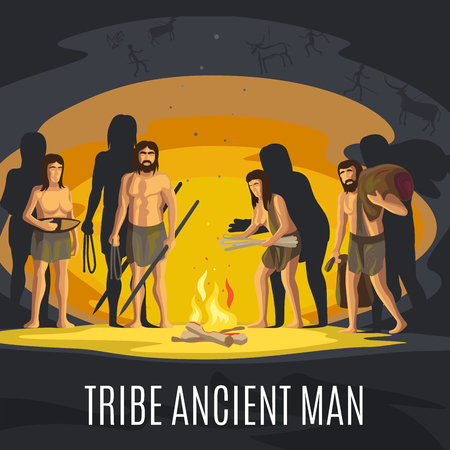 Ancient prehistoric stone age concept. Tribe ancient man making fire in cave vector illustration