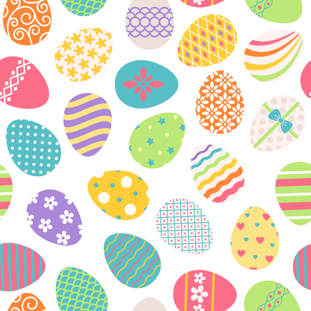 Easter eggs seamless pattern. Vector colored ostern background with floral patterns