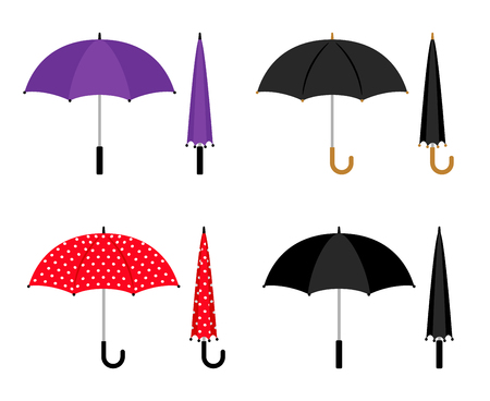 Umbrellas folded and opened collection. Black, red and violet parasol vector icons isolated on white background