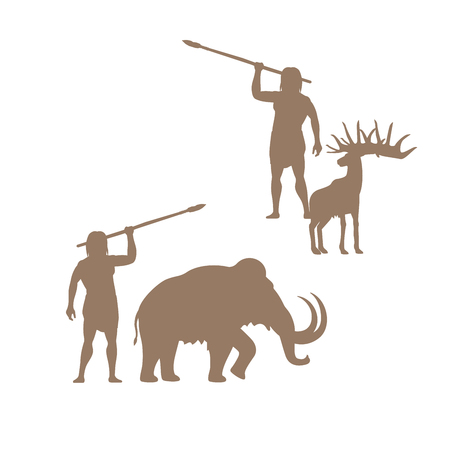 Silhouettes of ancient man and animals, mammoth and deer, isolated vector for logo design Illustration