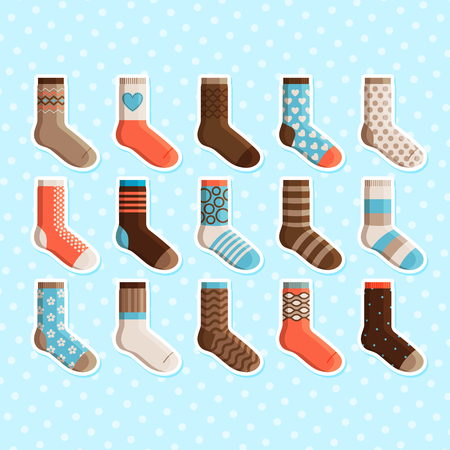 Colorful cartoon cute stylized kids socks stickers set. Vector illustration
