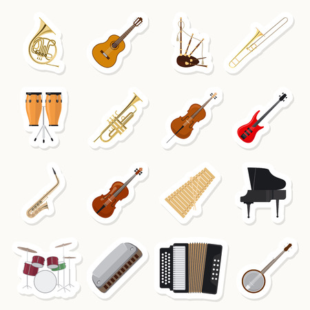 harmonic: Musical instruments stickers set. Orchestra music band vector illustration
