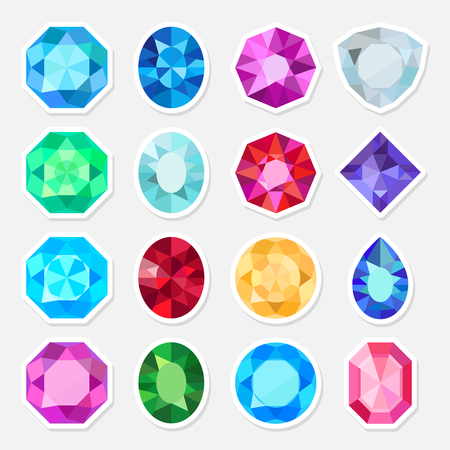 Vector jewels or precious diamonds gem stickers set
