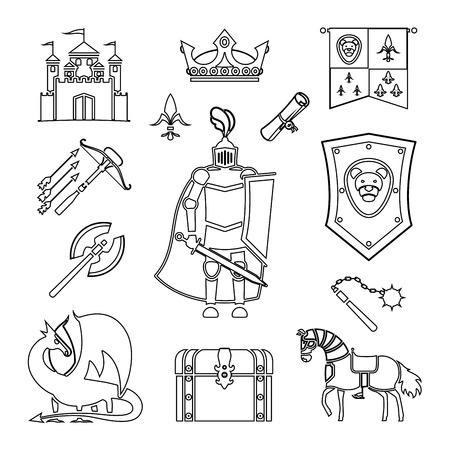 knighthood: Knighthood in Middle Ages line art Icons. Medieval ancient armor and coat of arms, knight and helmet vector outline signs Illustration