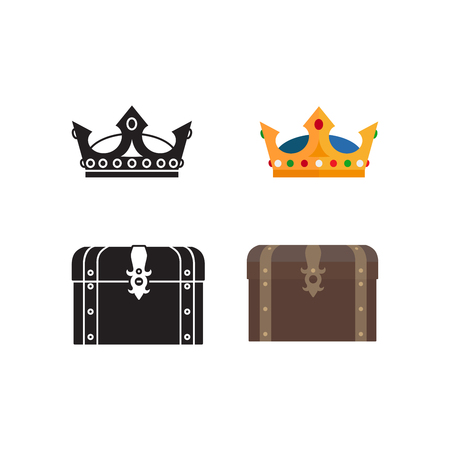 coffer: Medieval icons of chest, crown and silhouettes isolated on white background. Vector illustration