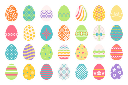 ellipse: Colored easter eggs or color ostern egg icons with decoration patterns vector illustration