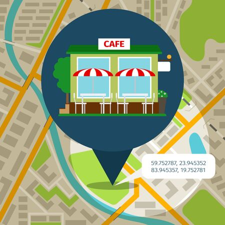 junkfood: Cafe location map with map pin and cafe front. Vector illustration