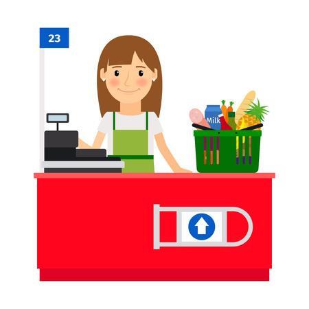 mujer en el supermercado: señora de cajero en su lugar de trabajo. Asistente de la tienda de comestibles tienda con máquina de la caja registradora. ilustración vectorial Foto de archivo
