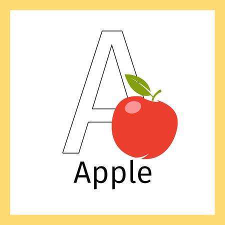 Kids education card with apple fruit and outline letter A for coloring, vector illustration Illustration