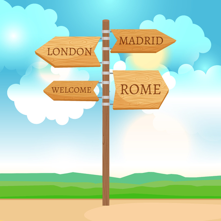 wooden post: Wooden way direction sign, sunny day landscape vector illustration
