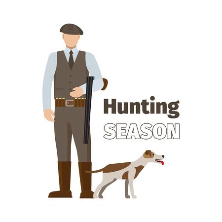 Hunter and his dog, hunting season vector isolated illustration