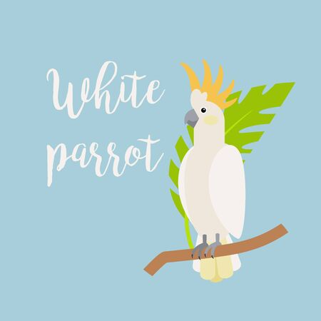 Exotic tropical bird, white parrot. Vector element with hand drawn inscription