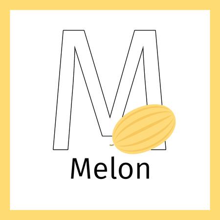Tarjeta De Educación Para Niños Con Fruta De Melón Y Letra M De ...