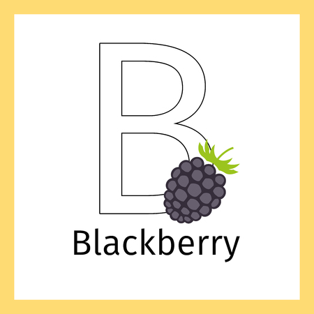 bramble: Kids education card with blackberry and outline letter B for coloring, vector illustration