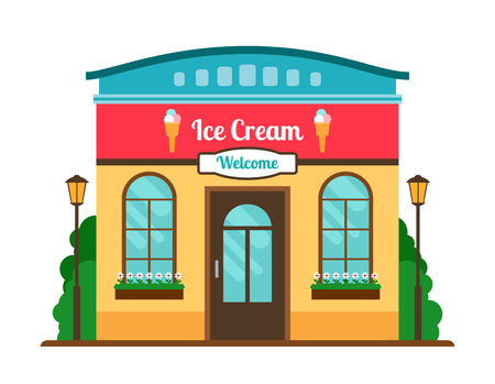 Ice cream cafe colorful store front on white background. Vector illustration Illustration