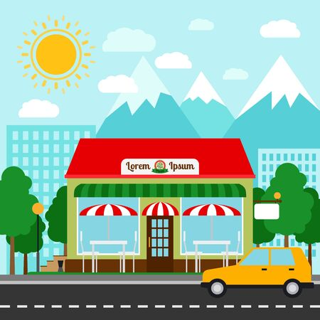 Pizzeria colorful vector illustration. Pizza house store front with mountains and city background Illustration