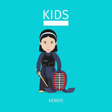 Kids martial art vector illustration. Kendo girl on blue background Illustration