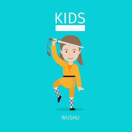 Kids martial art vector illustration. Wushu girl on blue background