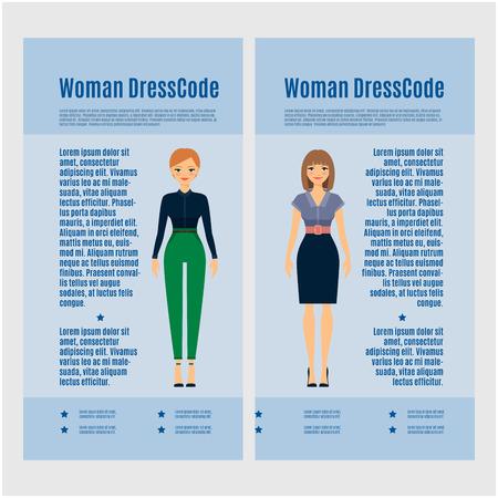 Woman Dress Code brochure design on blue background. Vector illustration