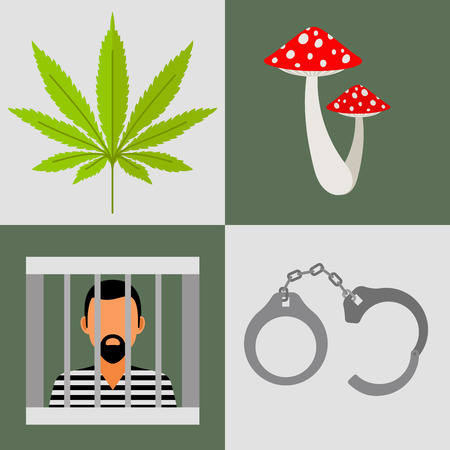 Drugs and prison vector icons set with handcuff, mushrooms and cannabis leaf.