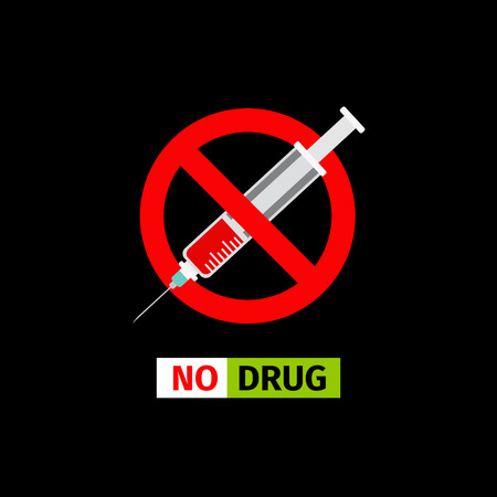 Vector forbidding sign on the black background. No Drugs