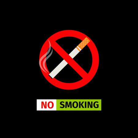 ベクトルは、黒の背景上の標識を禁止します。喫煙なし