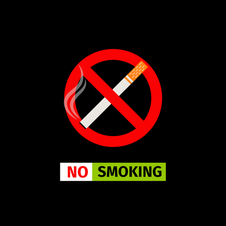 Vector forbidding sign on the black background. No Smoking