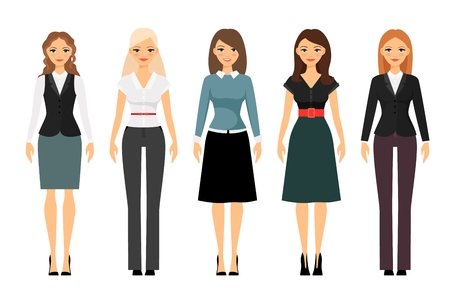 Beautiful women in different style clothes vector icons on white background. Women dress code illustration