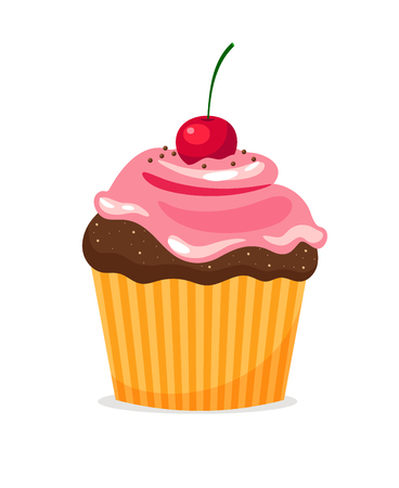 Chocolate cupcake with pink cream and cherry on white background. Vector illustration Illustration